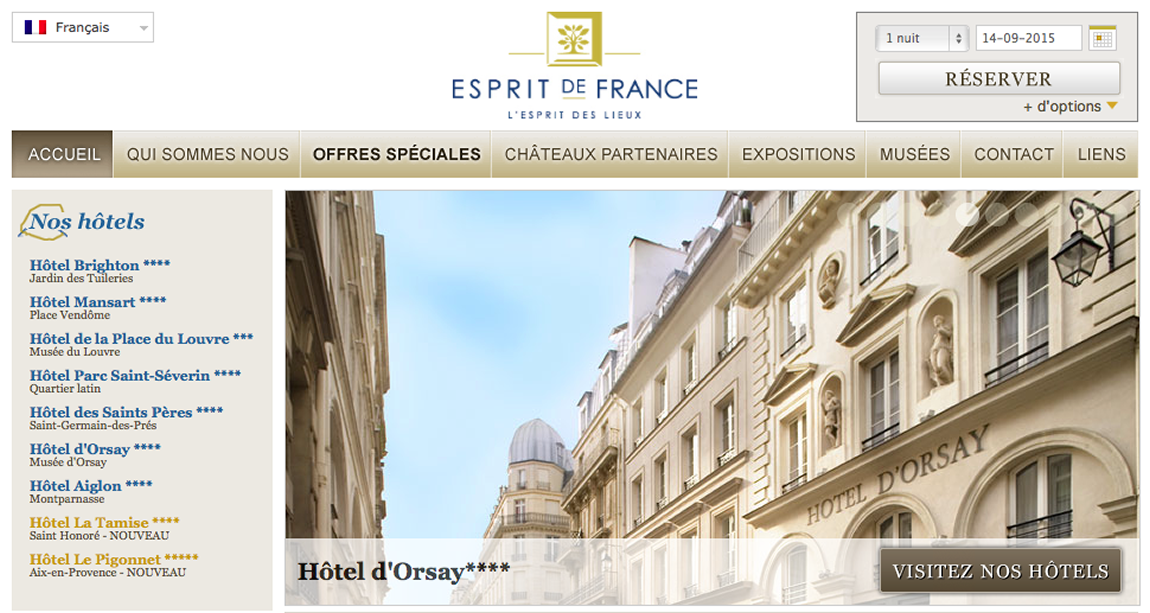 Touristic translation for Esprit de France